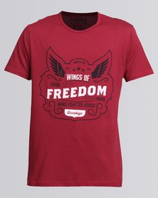 Utopia Tee With Wings Of Freedom Print Red