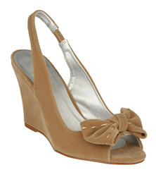 Utopia Bow Peep Wedge Sandals Taupe