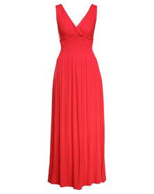 Utopia Shirred Dress Red
