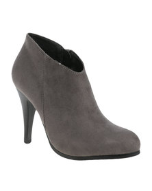 Utopia A-Symetrical Ankle Heel Bootie Grey