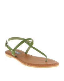 Utopia Basic T-Bar Flat Sandals Green