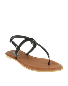 Utopia Basic T-Bar Flat Sandals Black