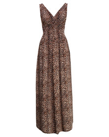 Utopia Animal Print Shirred Dress Brown