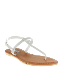 Utopia Basic T-Bar Flat Sandals White