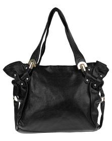 Utopia Stud Trim Leather Bag Black