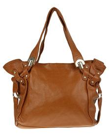 Utopia Stud Trim Leather Bag Tan