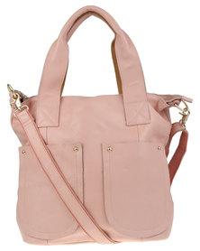 Utopia Pocket Detail Tote Leather Bag Pink