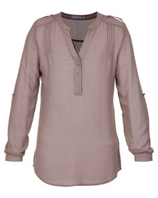 Utopia Pintuck Blouse Taupe