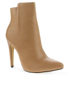 Utopia Pointy Ankle Boots Beige