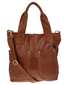 Utopia Pocket Detail Tote Leather Bag Tan