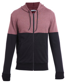 Utopia Colour-Block Hoodie Burgundy and Black