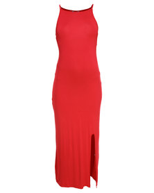 Utopia Maxi Racer Dress with Slit Red