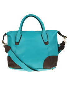 Utopia Panelled Tote Leather Bag Teal