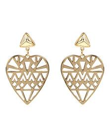 Utopia Patterned Heart Earrings Gold-Tone