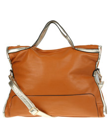 Utopia Metallic Trim Bag Tan