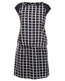 Utopia Grid Print Dropped Waist Tunic Dress Black White