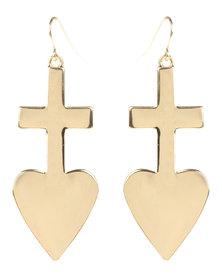 Utopia Cross Heart Earrings Gold-Tone