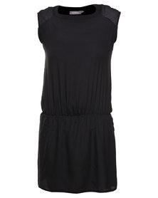 Utopia Dropped Waist Tunic Dress Black