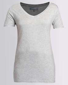 Utopia Basic V-Neck Tee Grey Melange