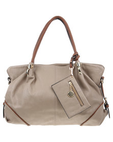 Utopia Trimmed Tote Bag Taupe