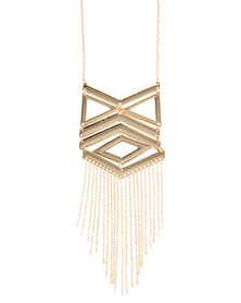 Utopia Geometric Tassle Statement Necklace Gold-Tone
