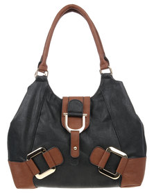 Utopia Large Buckle Hobo Bag Black