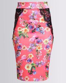 Utopia Floral Print Scuba Pencil Skirt Coral