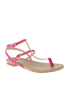 Utopia Trim Toe Thong Sandals Pink