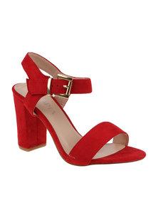 Utopia Suede Block Heel Sandal Red
