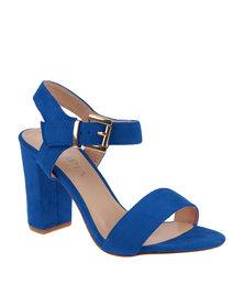 Utopia Suede Block Heel Sandal Blue