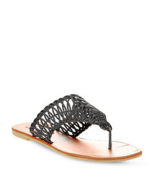 Utopia Weave Cut Out Sandals Black