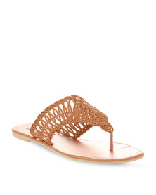 Utopia Weave Cut Out Sandals Tan