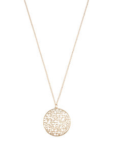 Utopia Word Medallion Necklace Gold-Tone