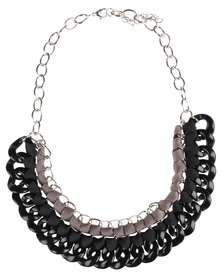 Utopia Woven Chain Necklace Black