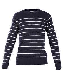Utopia Navy Stripe Crew Neck Jumper Navy
