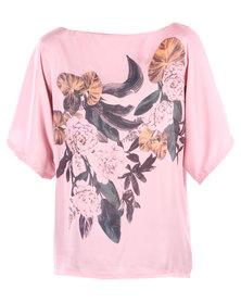 Utopia Floral Kimono Blouse Pink