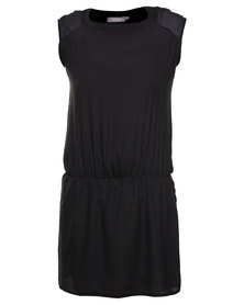 Utopia Dropped Waist Tunic Dress Black