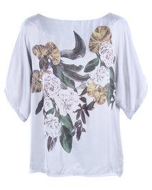 Utopia Floral Kimono Blouse Grey