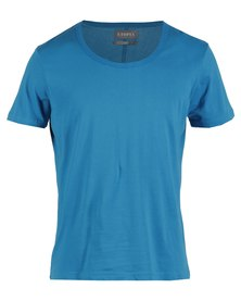 Utopia Mens Scoop Neck T-Shirt Blue