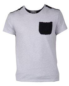 Utopia Contrast Textured Pocket T-Shirt  Natural