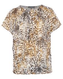 Utopia Animal Print Side Drape Knit Top Multi
