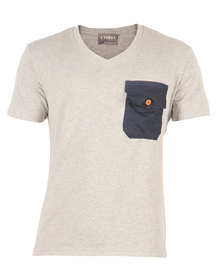 Utopia A183 V-Neck Tee With Contrast Tape And Front Pocket Detail Neutrals