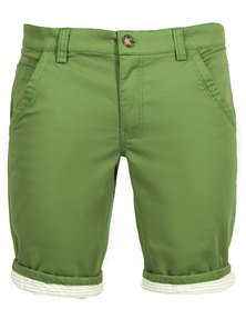 Utopia Flat Fit Stripe Turn-Up Shorts Green