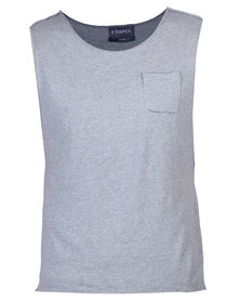Utopia Sleeveless Dipped Hem Vest Grey Melange