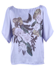 Utopia Floral Kimono Blouse Lilac