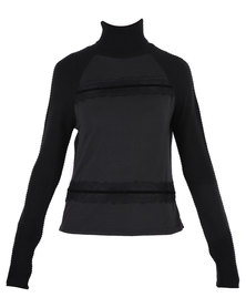 Utopia Roll Neck Lace Front Jersey Black