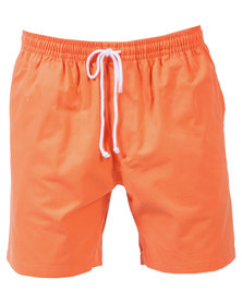 Utopia Summer Drawstring Shorts Solid Colours Orange