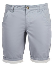 Utopia Flat Fit Stripe Turn-Up Shorts Light Blue