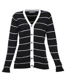 Utopia Stripe Cardi Black White