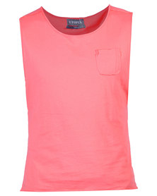 Utopia Sleeveless Dipped Hem Vest Coral